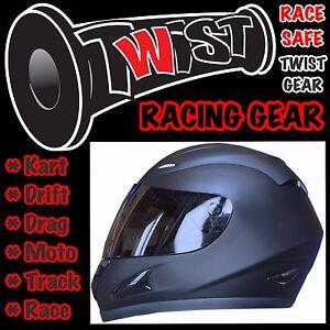 ADULT-YOUTH-GO-KART-DRIFT-TRIKE-RACE-TRACK-DRAG-MOTO-HELMET-Matte-Black-Large