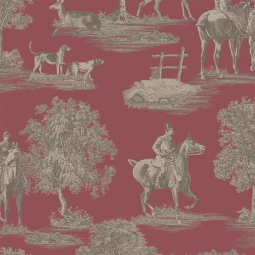 Regency Hunters Lodge Wine Stag Deer Huntsman Blendworth Wallpaper PV00226