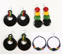 Rasta Wooden Earrings Reggae Jamaica