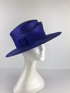 MARINDA Purple Boater Style Hat. Weddings Special Ocassions (347)