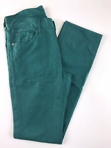 7-for-all-mankind-Slimmy-High-Rise-Green-Women-039-s-Jeans-Size-30x33x10-034