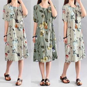 S-5XL-Damen-Sommer-Blumen-Kurzarm-Bluse-Shirt-Hemd-Tops-Minikleid-A-Linie-Kleid