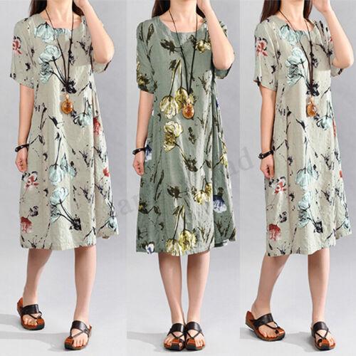 S-5XL Damen Sommer Blumen Kurzarm Bluse Shirt Hemd Tops Minikleid A-Linie Kleid
