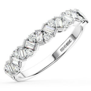 0-75Ct-Round-amp-Baguette-Cut-Diamonds-Half-Eternity-Ring-Wedding-Ring-in-18K-Gold