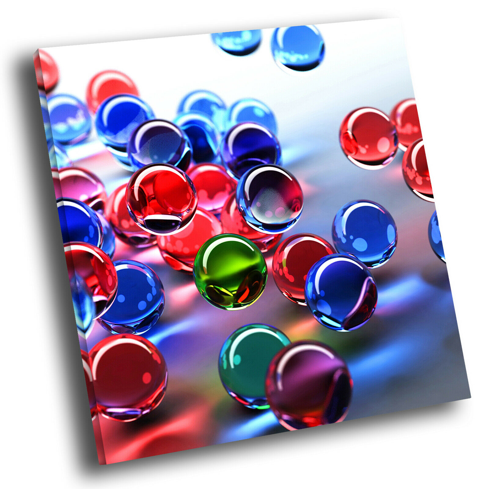 Blau rot 3D Marbles Square Abstract Photo Canvas Wall Art Large Picture Prints