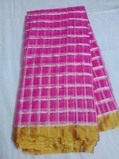 Pink SYN Saree Grand Soft Saree Border Saree W/B(New With Defect)MRP 900