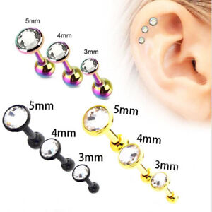491eced92 3pc/Set 3/4/5mm 16G Bar Barbell Zircon Ear Cartilage Tragus Helix ...