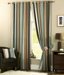 Duck-Egg-Beige-Brown-Cream-Vertical-Stripes-Lined-Curtains-Eyelet-Ring-Top
