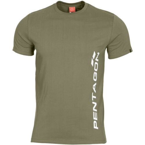 Pentagon Ageron T-Shirt Vertical Logo Hiking Mens Sport Outdoor Duty Top Olive