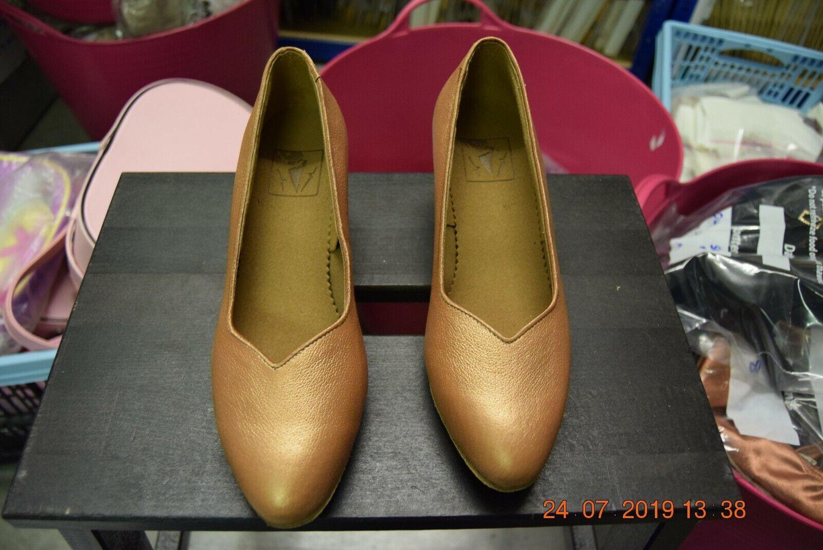 Tan satin leather Dancelife 4743 ballroom / latin dance shoes - size UK 3
