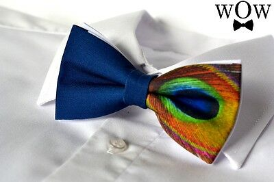 "Peacock solid 2 layer party wedding pre-tied ""WoW bow ties"" bow tie"