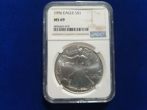 NGC MS69 BU 1996 AMERICAN SILVER EAGLE $1 US COIN KEY DATE