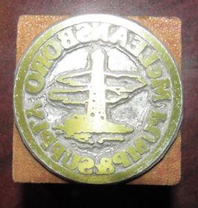 Vintage-McLeansboro-Pump-amp-Supply-Wooden-Printing-Block-IL-Illinois-Oil