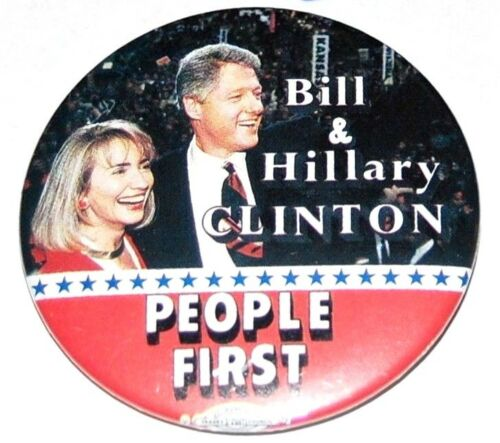 1992 BILL CLINTON HILLARY campaign pin pinback button presidential political