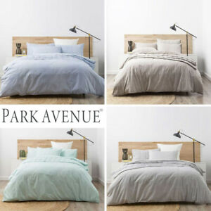 PARK-AVENUE-Washed-Chambray-100-Cotton-Quilt-Duvet-Cover-Set-4-Colours-NEW
