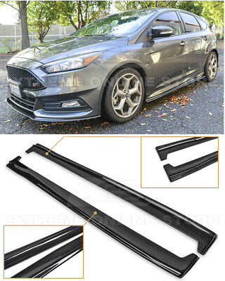 For 13 Up Ford Focus St Rs Carbon Fiber Add On Side Skirts Panel Extensions Ebay
