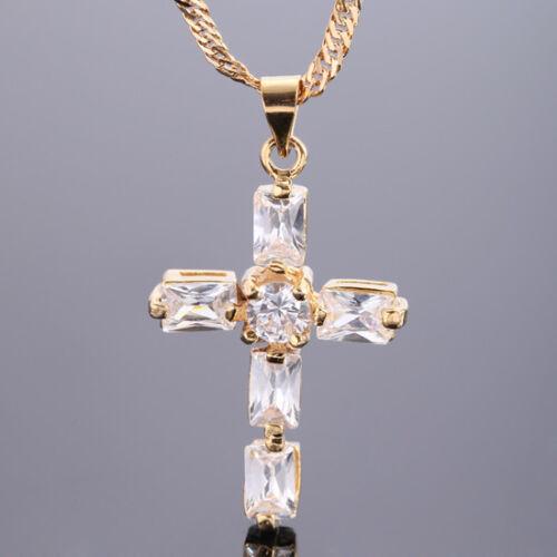 Sarotta Jewelry Fashion 1 Big Cross Coupe Fine clair Topaze Or Jaune GP Pendentif