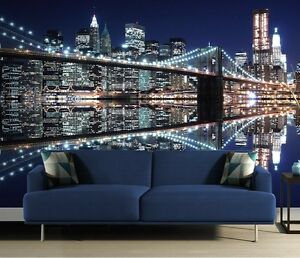 Details About Wall Mural New York City Colours Photo Wallpaper Blue Style Brooklyn Bridge