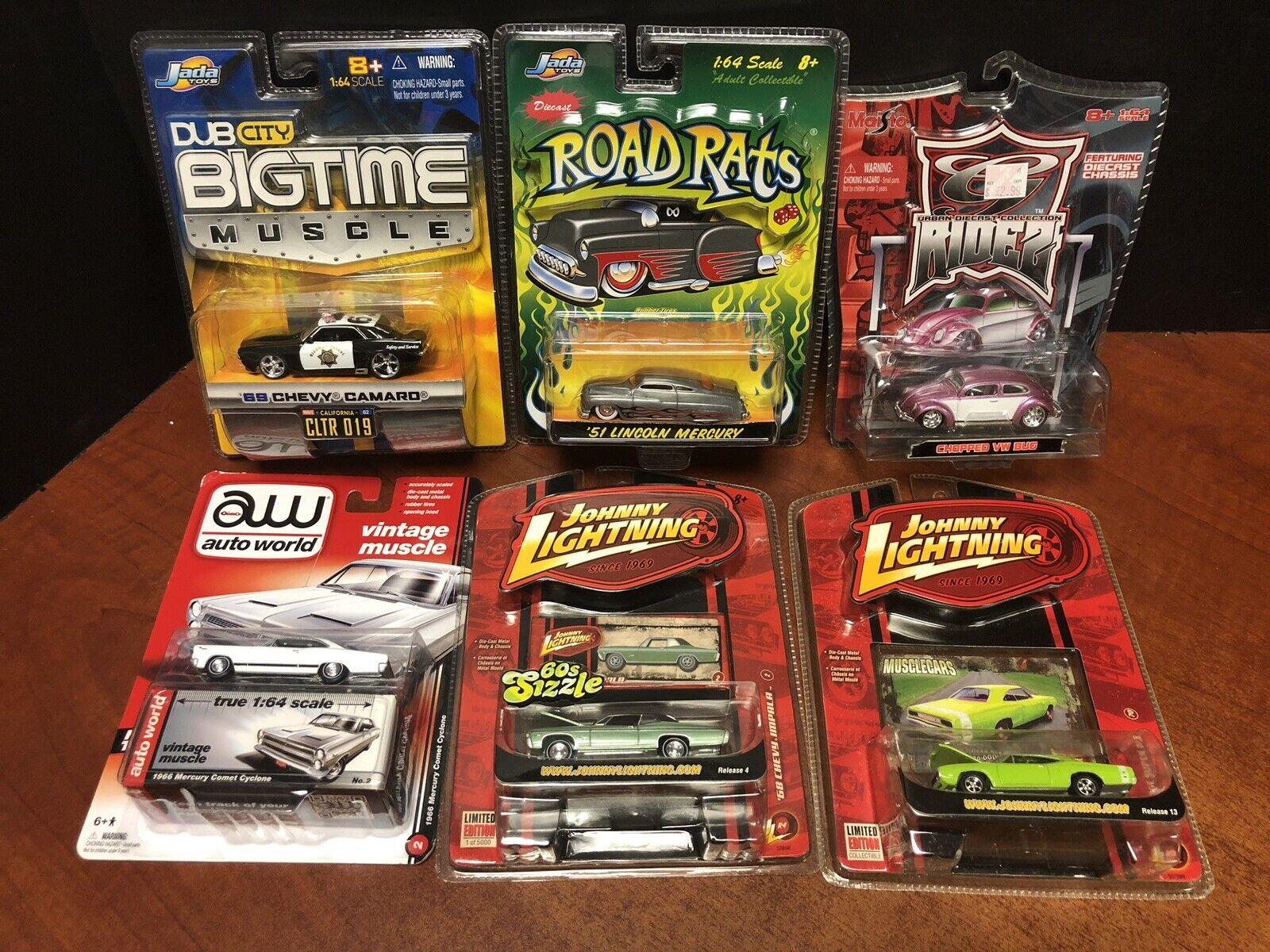 Assorted Diecast Jada Johnny Lightning Maisto Impala Bug Camaro Lot Of 6 EM3363