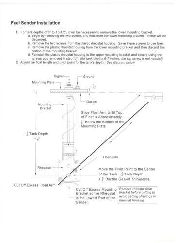 TAN-ORG Universal Gas or Fuel Level Sending Unit For Ford//Mopar 73-10 ohm