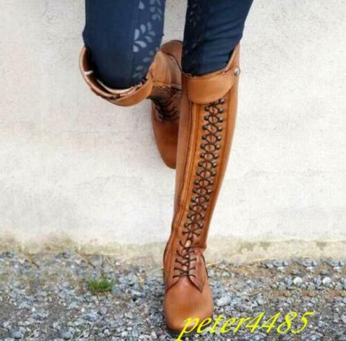 Knee High Boots Leather Lace Up Retro Riding Women/'s Boots Solid Buckle boots