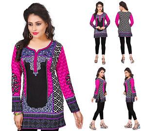 Unifiedclothes-Women-Printed-Indian-Short-Kurti-Tunic-Kurta-Top-Shirt-Dress-105B