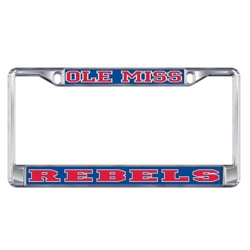 "MISSISSIPPI /""Ole Miss Rebels/"" Chrome License Plate Tag Frame"