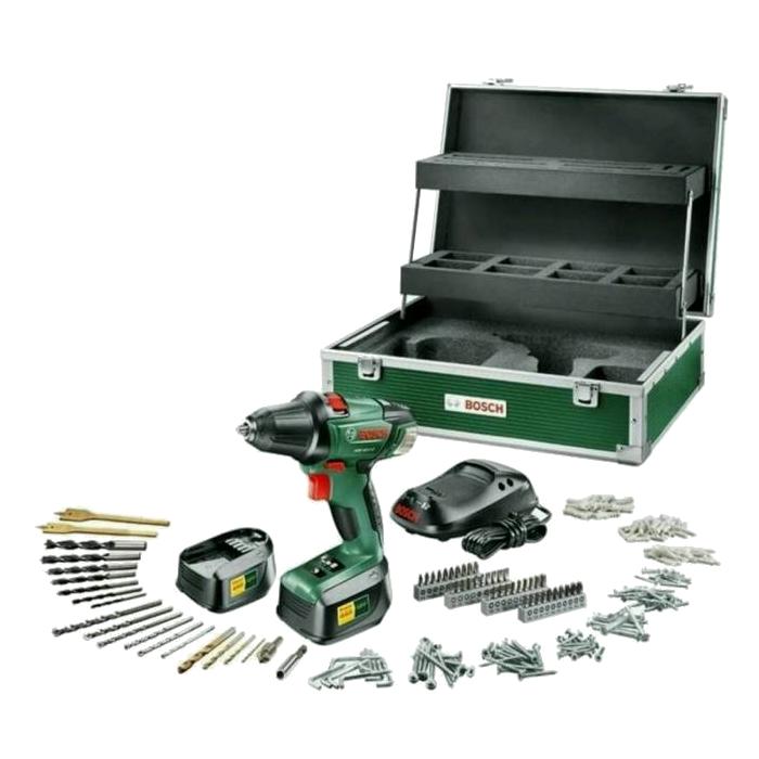 Bosch PSR 18 LI-2 Toolbox mit 241tlg. Zubehör - 2 Akkus 060397330E - Neu