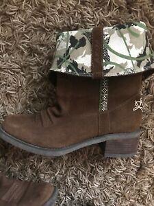 ROXY-Brown-Suede-Calf-Roll-Top-Zip-Boots-Size-8-UK