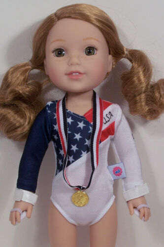 """Debs 3pc Gymnastic Leotard USA Flag Theme Doll Clothes For 14/"""" Wellie Wishers"""