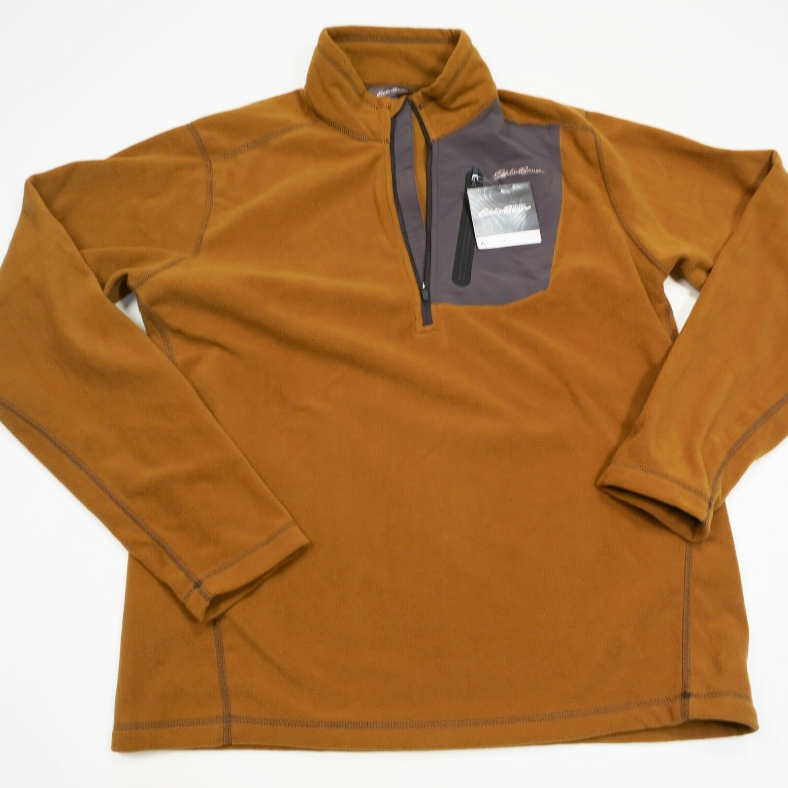Men's Eddie Bauer Cloudlayer 1 4 Zip First Ascent Fleece Large Brown NEW