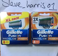 GILLETTE FUSION PROGLIDE POWER 12 PACK 12 RAZOR BLADES 100% GENUINE ITEM BRAND