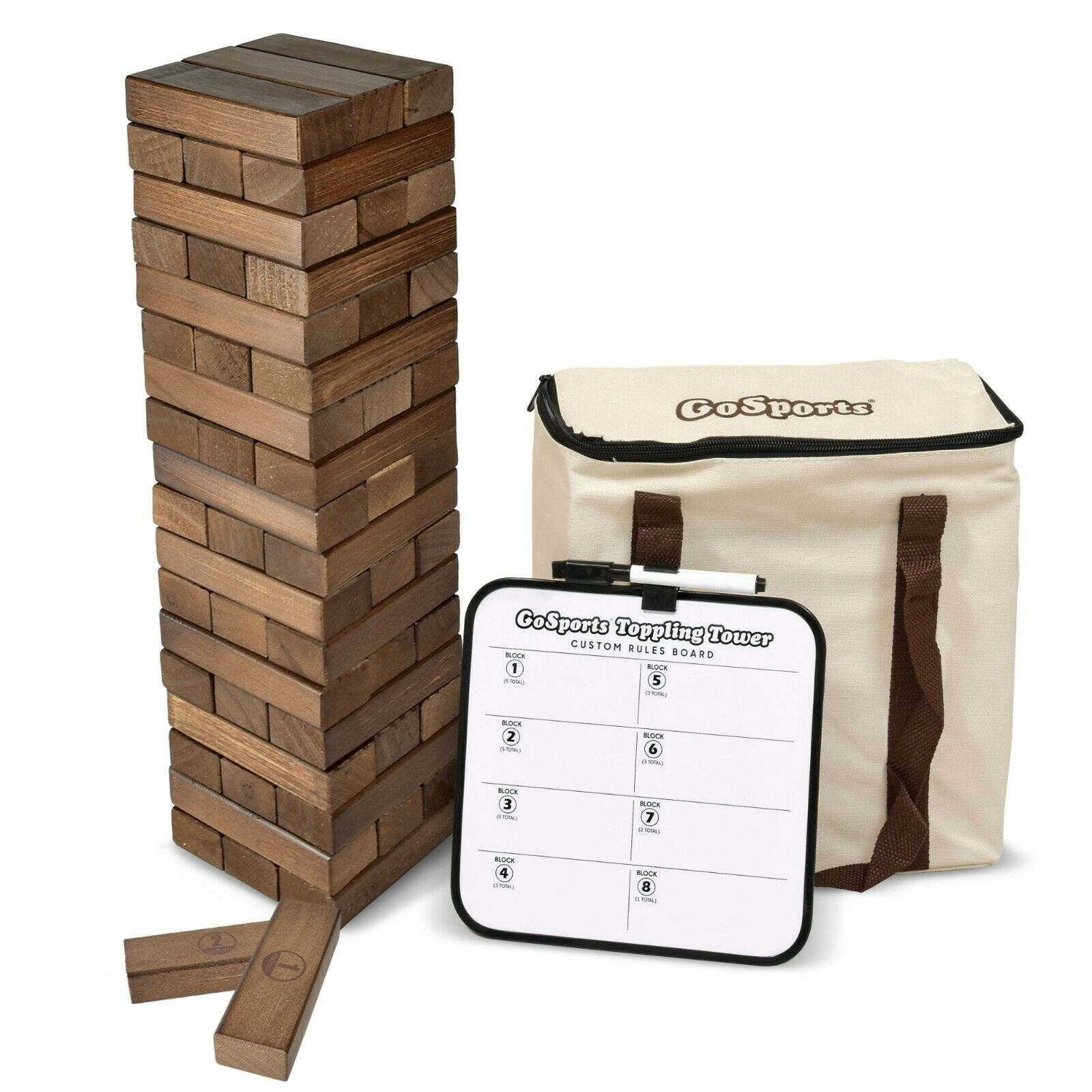 GoSports Large Dark Stain Toppling Tower with Bonus Rules   Starts at 1.5'