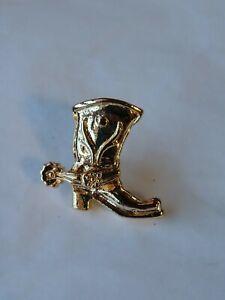 Cowboy Boot W/ Spur Lapel Hat Jacket Pin Gold Color Metal Lots Of Details