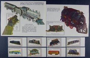Modeste Grenade 1992 Chemin De Fer Trains Railways Locomotives 2452-59 + Bloc 311-312 Neuf Sans Charnière
