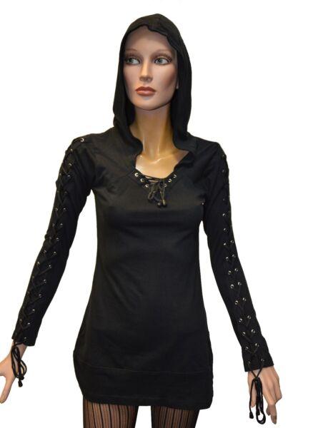 Damen Gothic Girl-Kapuzenpullover Longsleeve Hoodie Kapuzen Pullover Schwarz