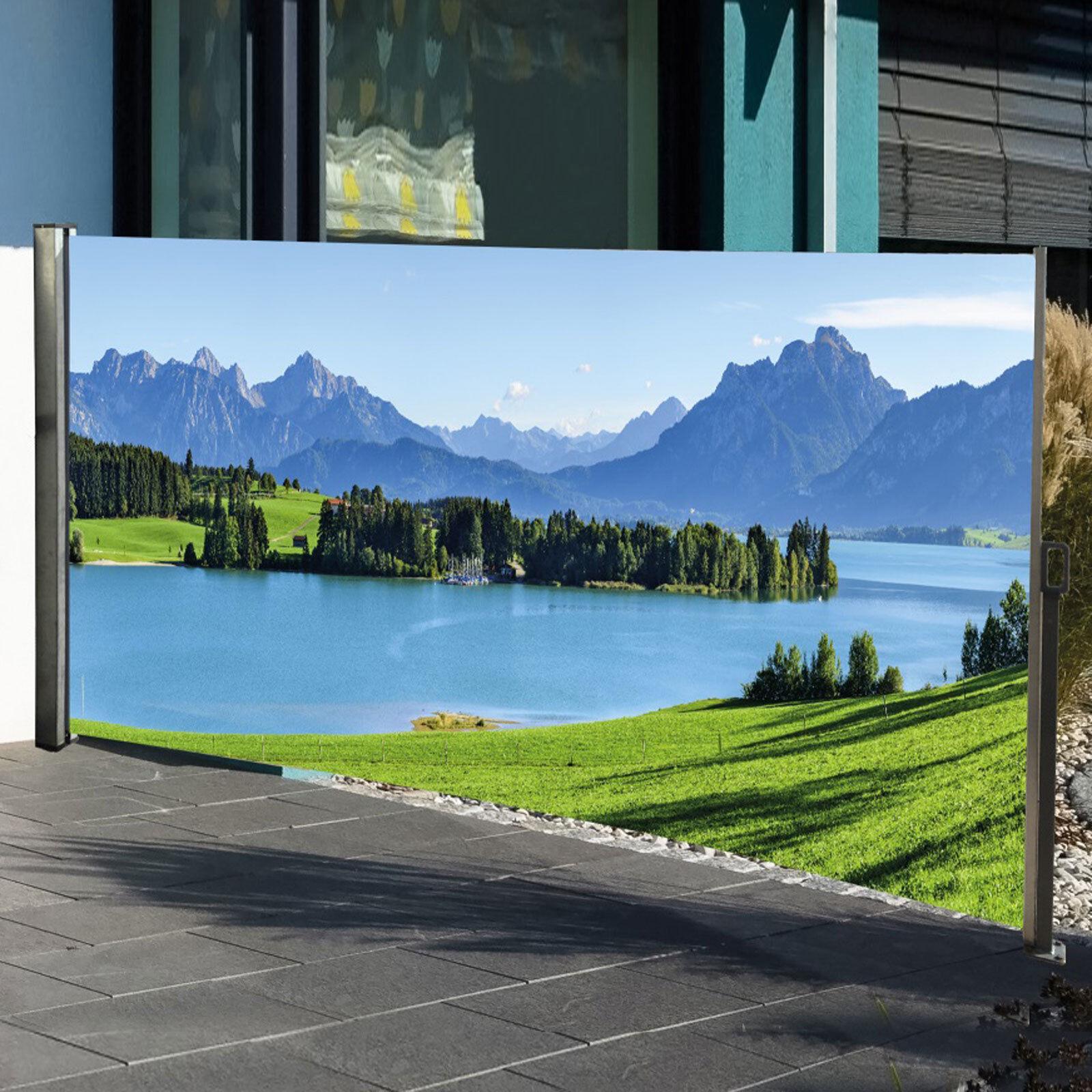 Seitenmarkise Wind- und Sichtschutz mit Berg-Motiv Auszug rechts 160x300 cm cm cm b00024
