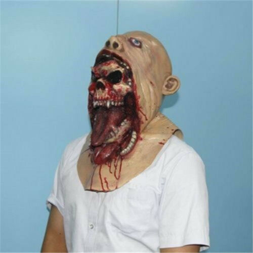Halloween Bloody Scary Adult Zombie Mask Melting Face Latex Costume Walking Dead