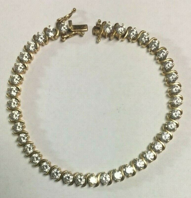 14K Yellow gold Bracelet - CZ - 9-9.5 Karat - 8  - SKU