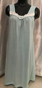 USA-vtg-Komar-wmns-S-Baby-Blue-Sleeveless-Nightgown-Nighty-cool-amp-Cozy-tank-style