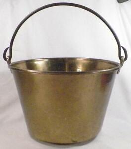 Antique Brass Pail Bucket Milk Maple Syrup Ash H W Hayden's Pat. 1861 Spun Plugs