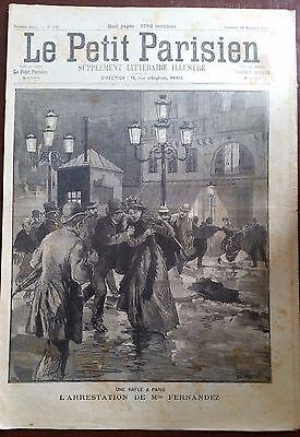 Humor Le Petit Parisien 29/11/1891; L'arrestation De Mlle Fernandez/ Abandonné En Mer Fabrieken En Mijnen