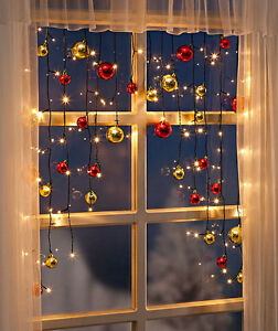 lichtervorhang lichterkette fenster kugeln fensterdeko led weihnachtsbeleuchtung ebay. Black Bedroom Furniture Sets. Home Design Ideas