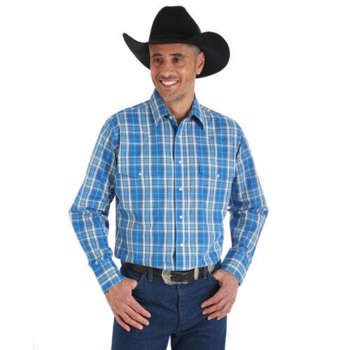 MWR230M Wrangler Men/'s Long Sleeve Blue Plaid Wrinkle Resist Western Shirt NEW