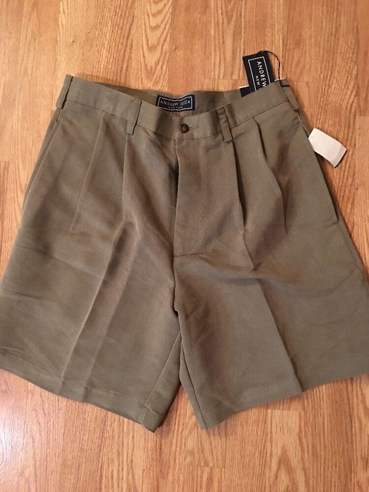 ! nuevo con etiquetas! Andrew Fezza para hombre New York 33 Plisado Pantalones Cortos. entrepierna 8 MSRP . M32