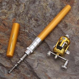 Mini Portable Pocket Fish Pen Shape Aluminum Alloy Fishing Rod Pole Red