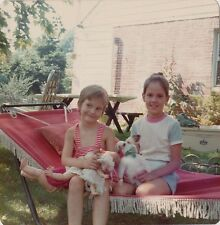 Vintage Photograph Two Cute Girls Sitting in Hammock With Cute Baby Doll 1974