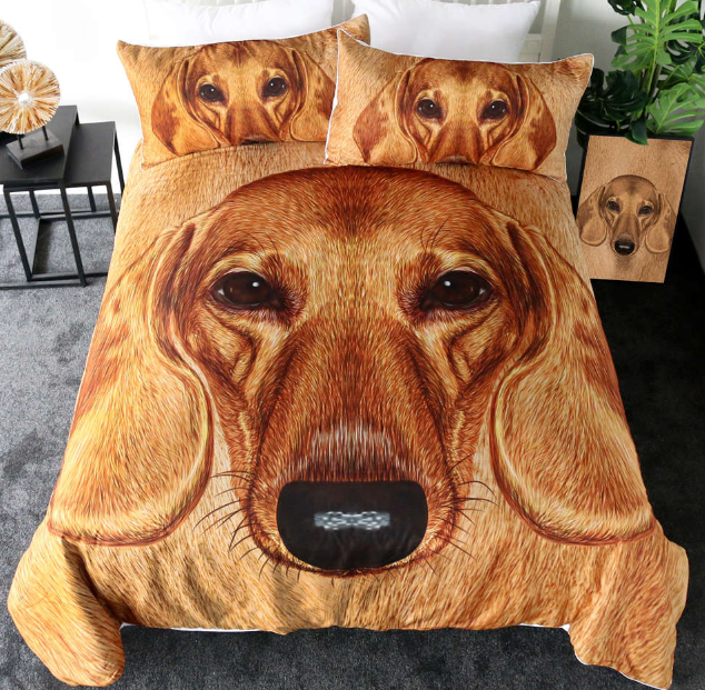 Dachshund Bedding Set Marronee Dog Bedclothes Textiles Pillow Case Duvet Cover new