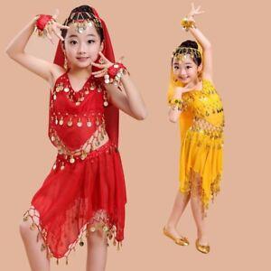 Girl Belly Dance Costume Set Suit Children Indian Performance Kids