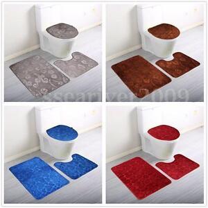 Soft Cotton 3 Pieces Bath Pedestal Mat Toilet Non Slip Washable Floor Rugs Sets